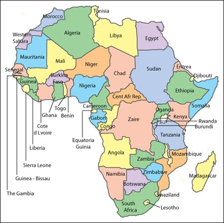 Africa Map   Editable Vector, Illustrator, WMF and PDF