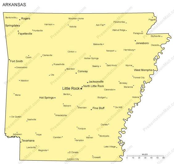 Arkansas PowerPoint Map - Major Cities