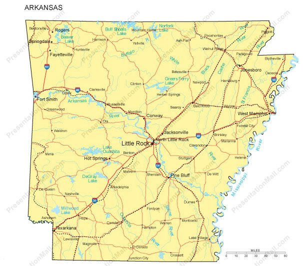 Arkansas PowerPoint Map - Counties, Major Cities and Major Highways