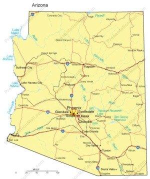 Map Of Arizona Railroads.Arizona Powerpoint Map Major Cities Roads Railroads Waterways
