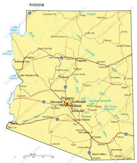 Arizona PowerPoint Map - Counties, Major Cities and Major Highways