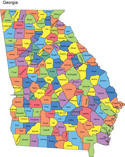 State Of Georgia County Map.Georgia Map With Counties