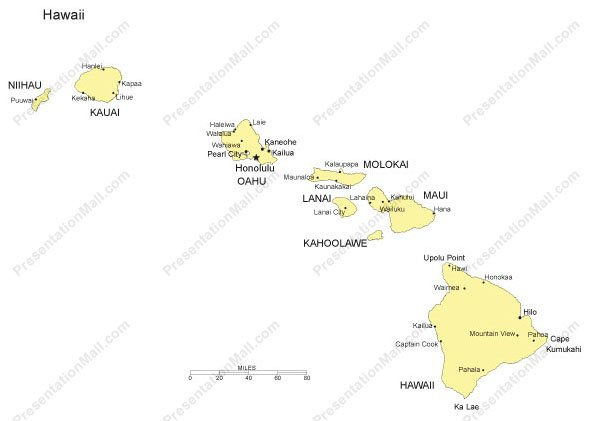 Hawaii Outline Map with Capitals & Major Cities- Digital Vector,  Illustrator, PDF, WMF