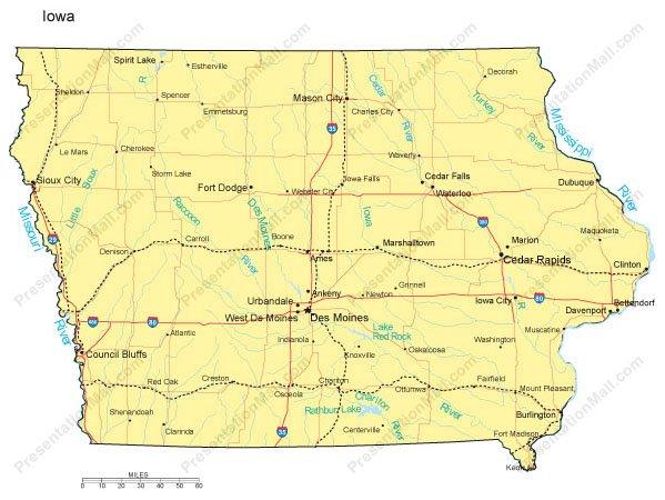 Iowa Map - Major Cities, Roads, Railroads, Waterways - Digital Vector, Major Cities In Iowa Map on map counties in iowa, map rivers in iowa, map state parks in iowa,
