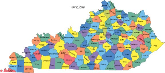 Kentucky Map with Counties