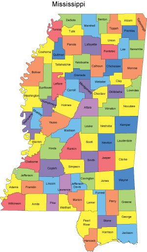 map of mississippi counties with names Mississippi Map With Counties map of mississippi counties with names