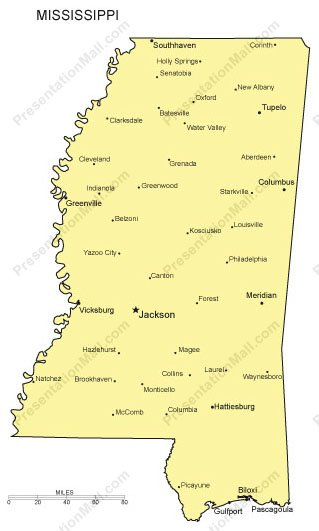 Cities In Ms >> Mississippi Outline Map With Capitals Major Cities Digital Vector Illustrator Pdf Wmf