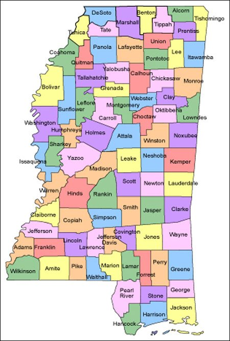 Mississippi Map for Websites - Clickable HTML Image Map