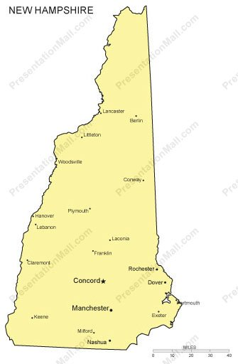 New Hampshire PowerPoint Map - Major Cities
