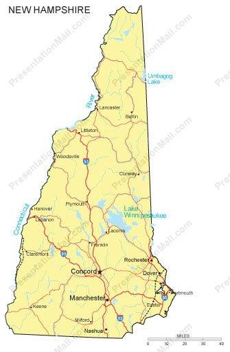 New Hampshire PowerPoint Map - Major Cities, Roads, Railroads, Waterways
