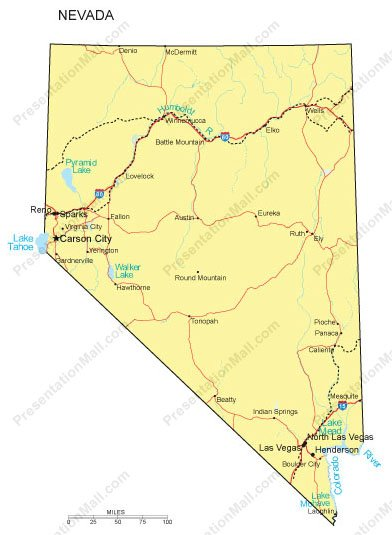 Nevada PowerPoint Map - Counties, Major Cities and Major Highways