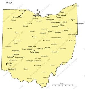 Ohio map PowerPoint templates - Free PowerPoint Templates |Ohio State Capital Map