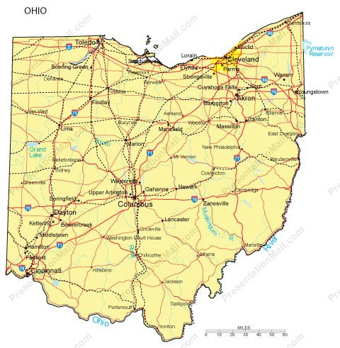 Ohio PowerPoint Map - Counties, Major Cities and Major Highways