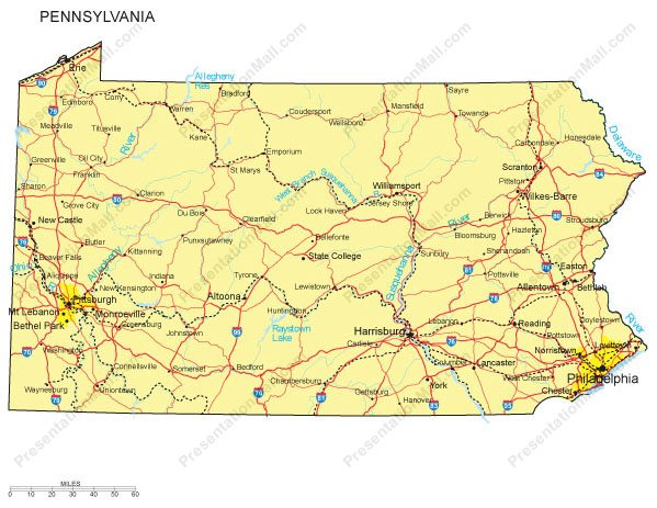 Pennsylvania PowerPoint Map - Counties, Major Cities and Major Highways