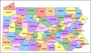Pennsylvania PowerPoint County Map