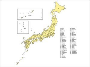 Map of Japan with Provinces
