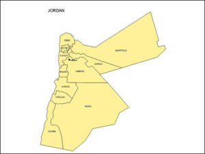Map of Jordan with Provinces