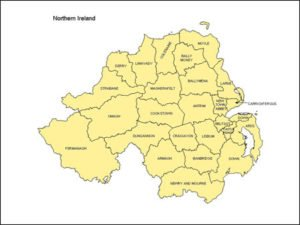 Northern Ireland Map with Provinces