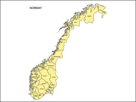 Map of Norway - Editable PowerPoint Map