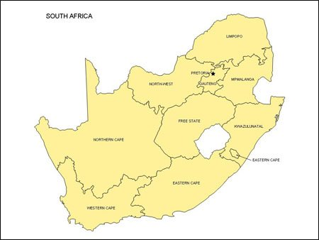Map of South Africa   Editable PowerPoint Map