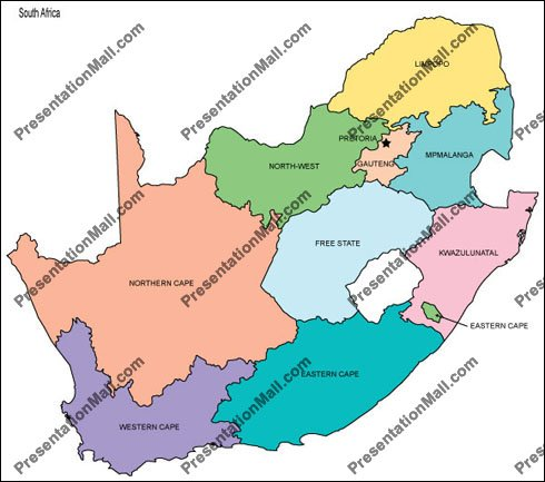 Map of South Africa   Editable Vector, Illustrator, PDF and WMF