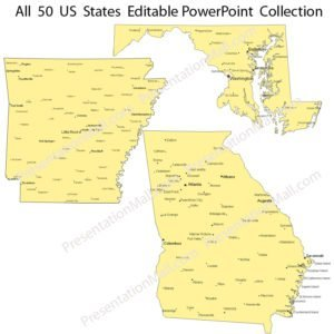 US State Outline Maps with Major Cities – PowerPoint