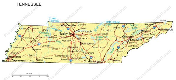 Tennessee PowerPoint Map - Counties, Major Cities and Major Highways