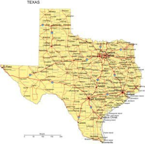 Texas Map with counties, cities, & highways