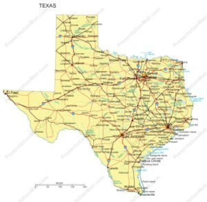 Texas Map - cities, highways & waterways