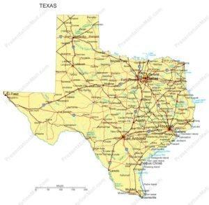Texas Map - cities, highways & waterways