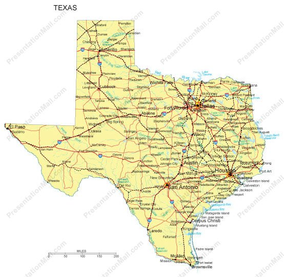 Texas Map - Counties, Major Cities and Major Highways - Digital Vector,  Illustrator, PDF, WMF