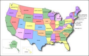 United States Multi Color map with State Names