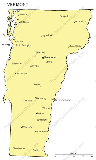 Vermont Outline Map with Capitals & Major Cities- Digital Vector,  Illustrator, PDF, WMF
