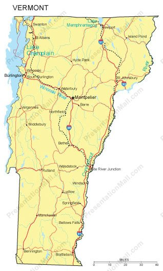 Vermont PowerPoint Map - Counties, Major Cities and Major Highways