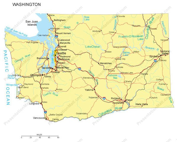 Washington PowerPoint Map - Counties, Major Cities and Major Highways