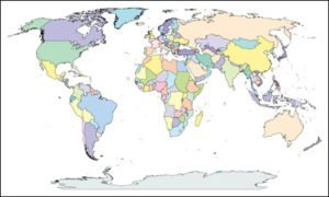 World Map with Gobal References – Single Color