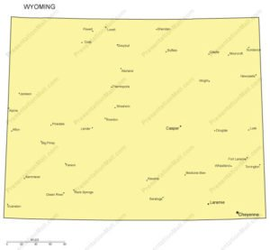 Wyoming Map with Cities