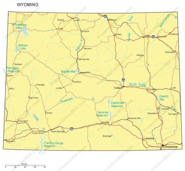 Wyoming Map - Counties, Major Cities and Major Highways - Digital Vector,  Illustrator, PDF, WMF
